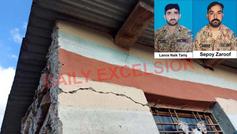 A house damaged in Pakistan shelling in Mankote sector of Poonch and two Pakistan army personnel killed in the Indian retaliatory action. —Excelsior/Rahi Kapoor