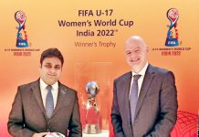 Dr Varun Suthra sharing dais with FIFA President Gainnni Infantino at Bern Switzerland.