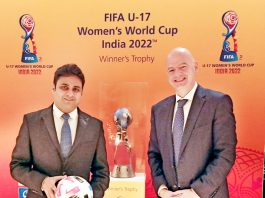 Dr Varun Suthra sharing dais with FIFA President Gainnni Infantino at Bern Switzerland.