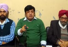 Political Activist, Eshfaq-ur-Rehman Poswal addressing a press conference at Jammu on Wednesday.