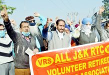 VRS given JKRTC employees protesting in Jammu on Wednesday.