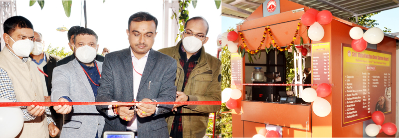 Ramesh Kumar, CEO, SMVDSB inaugurating catering outlet at Katra Helipad on Tuesday.