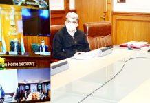 Cabinet Secretary, Rajiv Gauba chairing a meeting through VC on Tuesday.