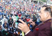 Union Minister Dr. Jitendra Singh addressing a public meeting during DDC election campaigin in far-flung areas of Barmeen - Gordi in district Udhampur, on Friday.