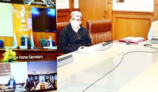 Cabinet Secretary, Rajiv Gauba chairing a meeting through VC on Tuesday.