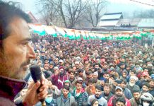 PCC chief G A Mir addressing public meeting in Verinag on Saturday.