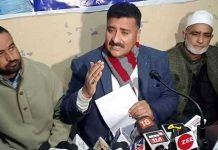 AJKPC president talking to mediapersons in Srinagar.