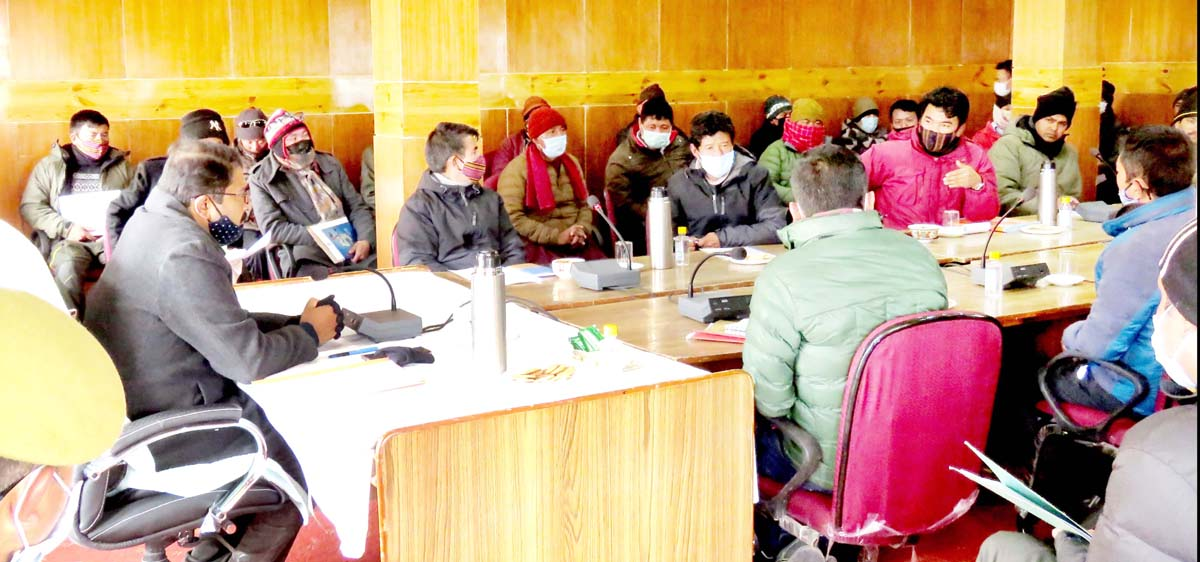 Divisional Commissioner Ladakh Saugat Biswas chairing a meeting at Nyoma.