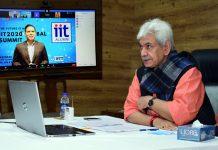 Lieutenant Governor Manoj Sinha addressing IIT-2020 global summit on Saturday.