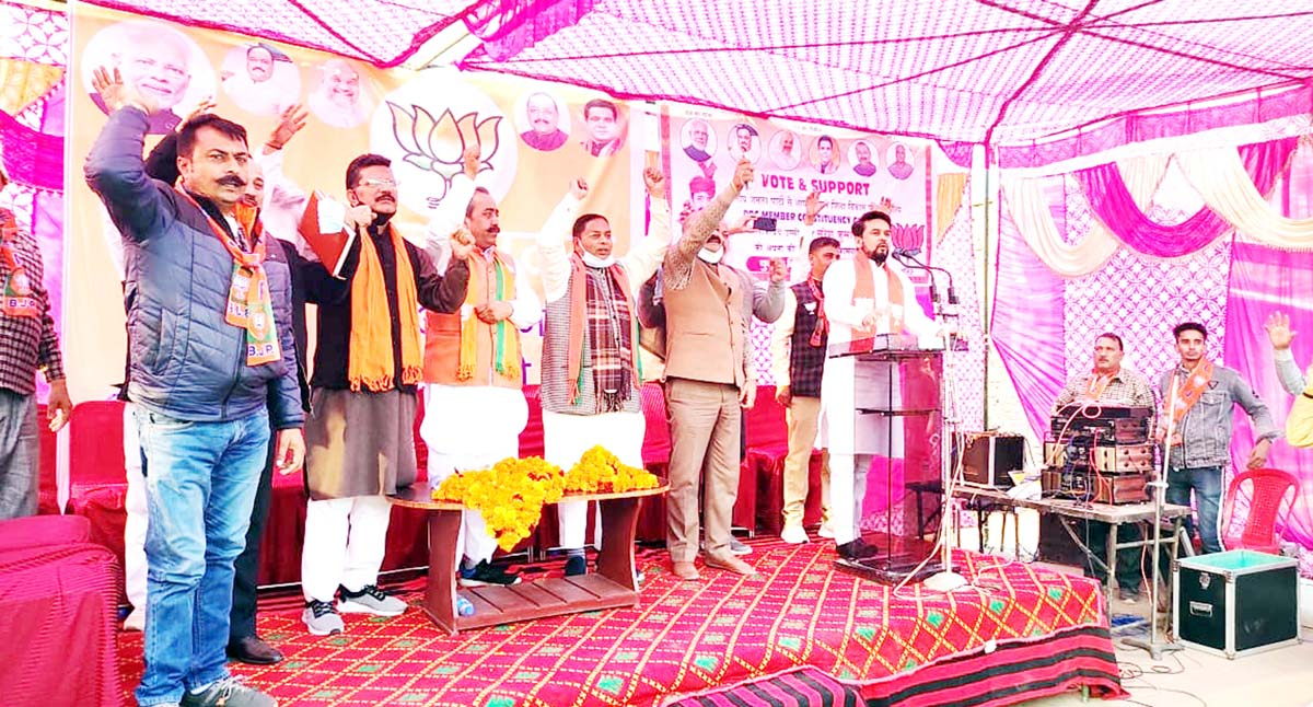 MoS, Finance, Anurag Thakur addressing a rally at Ghagwal on Tuesday. -Excelsior/Badyal