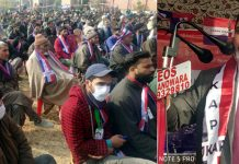 JKAP leader Altaf Bukhari addressing public rally in Handwara.