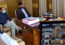 Secretary, RD&PR Sheetal Nanda chairing a meeting on Wednesday.