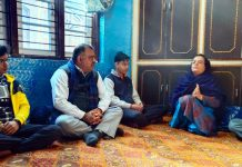 BJP national general secretary, Tarun Chugh at the residence of Parihar brothers who were martyred in Kishtwar.