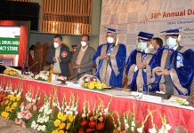 Dignitaries during 38th Annual Day function of SKIMS at SKICC on Saturday.