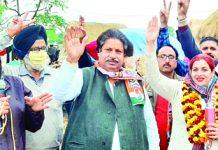 PCC leader Raman Bhalla at public rally at Gusain Chak in Jammu on Tuesday.