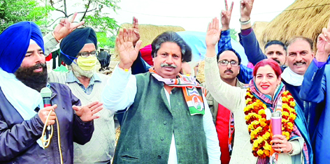 PCC leader Raman Bhalla at public rally at Gusain Chak in Jammu on Tuesday.