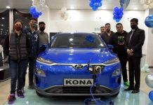 Officials of AM Hyundai Jammu and other guests on the launch of 'KONA Electric'. — Excelsior/Rakesh