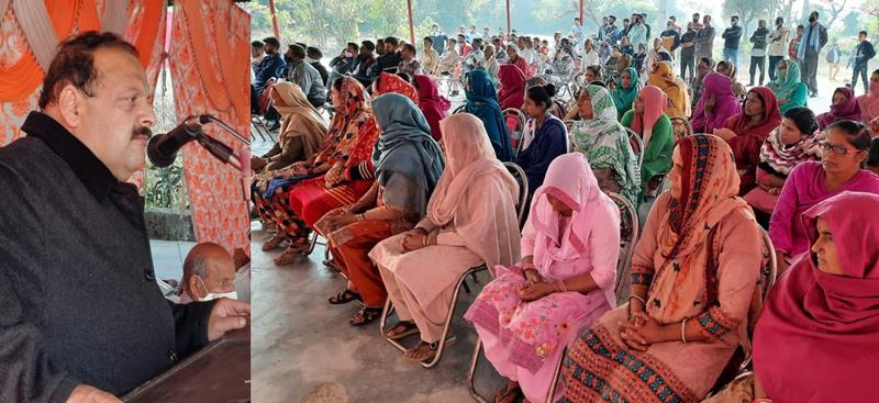 NC Provincial President Devender Singh Rana addressing election rally.