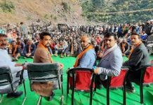 Union MoS Finance, Anurag Thakur addressing rally at Khanikot in Reasi district on Saturday. —Excelsior/Ramesh Mengi