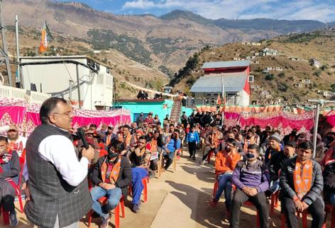 BJP national general secretary incharge J&K Tarun Chugh addressing a rally at Kishtwar on Tuesday. -Excelsior/Tilak Raj