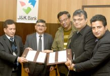 Officials of J&K Bank and Ashok Leyland during signing of MoU.