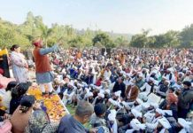 Former Minister Ch Lal Singh addressing a rally at Lakhanpur on Tuesday. -Excelsior/Madan