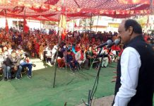 Senior NC leader, Surjeet Singh Slathia addressing a public meeting at Gurha Salathia on Wednesday.