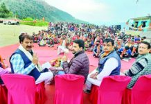 Union Minister, Anurag Thakur addressing election rally at Panasa in Reasi on Friday. -Excelsior/Ramesh Mengi