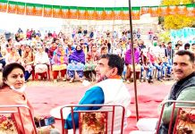 MP Jugal Kishore Sharma along with Former Minister Priya Sethi during a public meeting in Rajouri.
