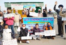 JTC and SKF activists protesting at Jagti on Friday.