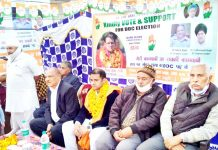 PCC vice president Mula Ram along with party candidate and others at election rally in Marh block.