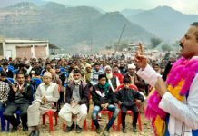 Balwant Singh Mankotia addressing a public meeting in support of JKNPP candidate in DDC elections.