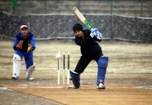 Players in action during final match of Women Premier League, organised by Army at Baramulla.