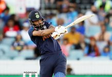 K L Rahul playing a shot during T20 match against Australia on Friday.