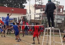 Players in action during Volleyball Premier League at Green Field Jammu.