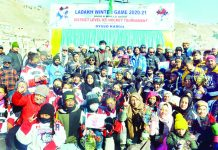 Winners of Ice Hockey Tournament displaying their trophies and certificates at Kargil. — Excelsior/Basharat Ladakhi