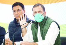 Congress leader Rahul Gandhi addressing a press conference on the ongoing farmers agitation at AICC headquarters in New Delhi on Tuesday. (UNI)
