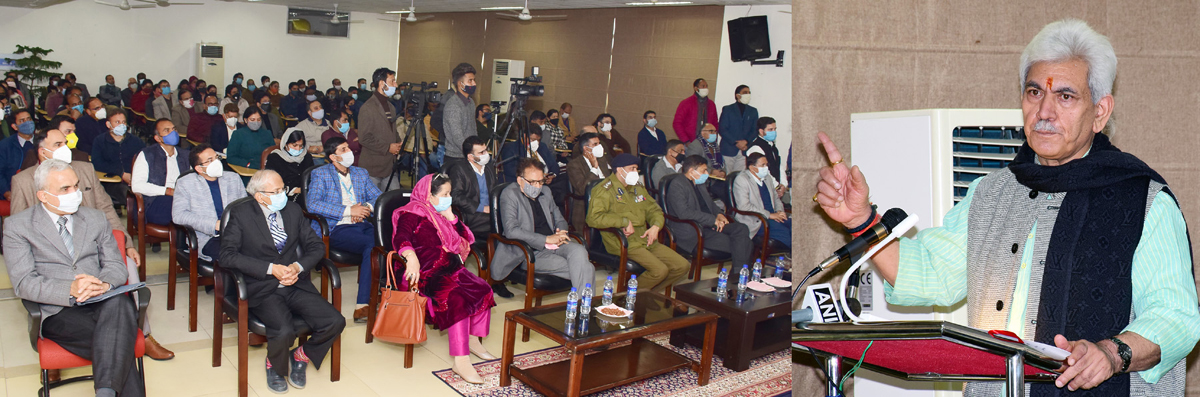 Lt Governor addressing gathering at Central University of Jammu on Friday.