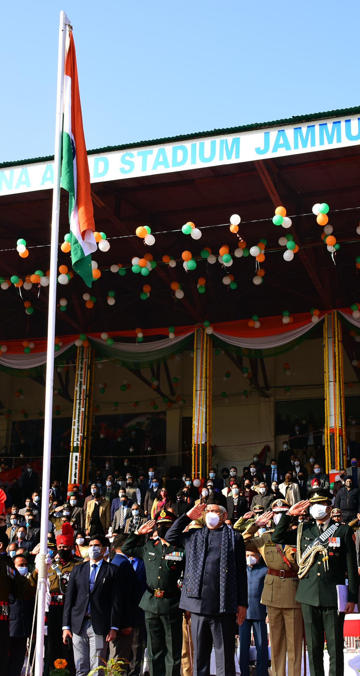 Lt Governor Manoj Sinha hoisting National Flag at Republic Day function in Jammu.