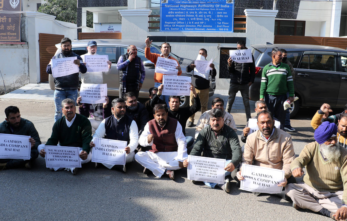 Leaders of National Panthers Party staging protest outside NHAI office at Jammu.