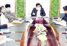 DDC Udhampur Dr Piyush Singla chairing a meeting on Friday.