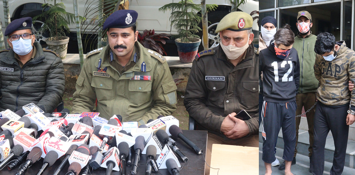 SSP Jammu Shridhar Patil interacting with media persons (left) and arrested accused (right). — Excelsior/Rakesh