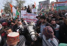 Cong leaders and workers taking out strong protest march in Jammu on Friday. — Excelsior/Rakesh