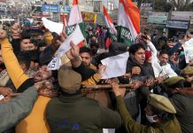 Youth Congress activists staging protest against fuel price hike in Jammu on Friday. -Excelsior/Rakesh