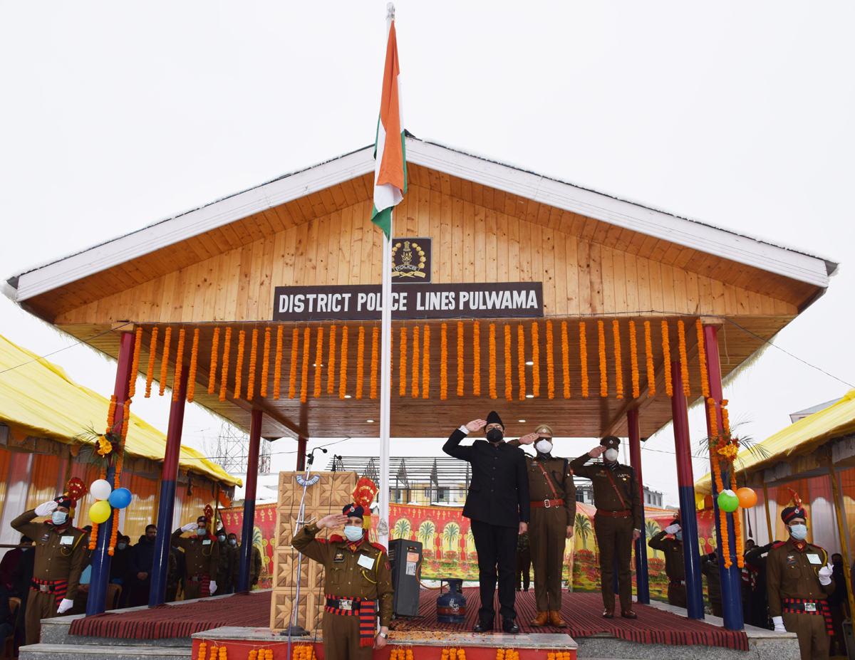 DC Pulwama saluting National Flag during Republic Day celebrations.