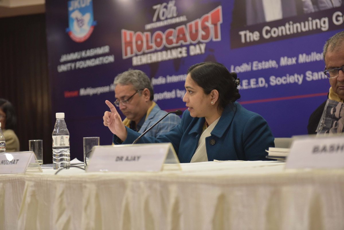 Panelists at international seminar on Holocaust Remembrance Day in New Delhi on Wednesday.