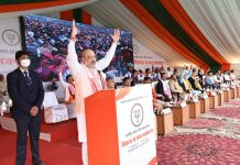 Union Home Minister Amit Shah addressing a public meeting at Nalbari in Assam on Sunday. (UNI)
