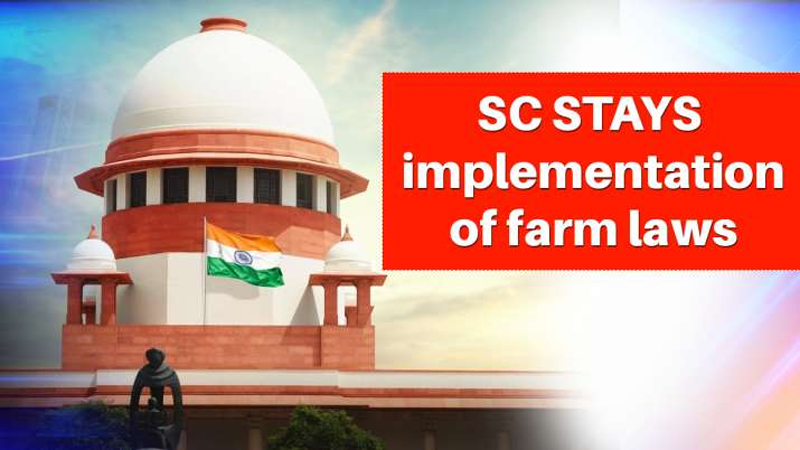 SC stays implementation of three farm laws