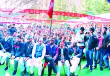 NC Provincial President Devender Singh Rana addressing party workers on Saturday.