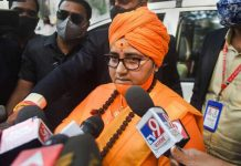 BJP MP Sadhvi Pragya Singh Thakur arrives at the special NIA court in connection with the Malegaon blast case, in Mumbai on Monday.